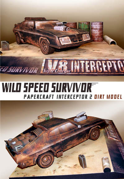 Paper model del diorama del coche Interceptor 2.